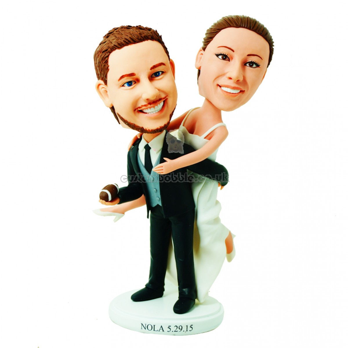 customised wedding cake topper football fan bride jump on