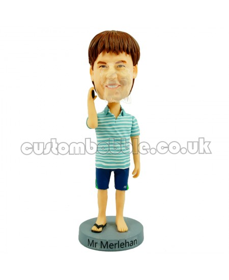 casual man in striped tops customised bobblehead