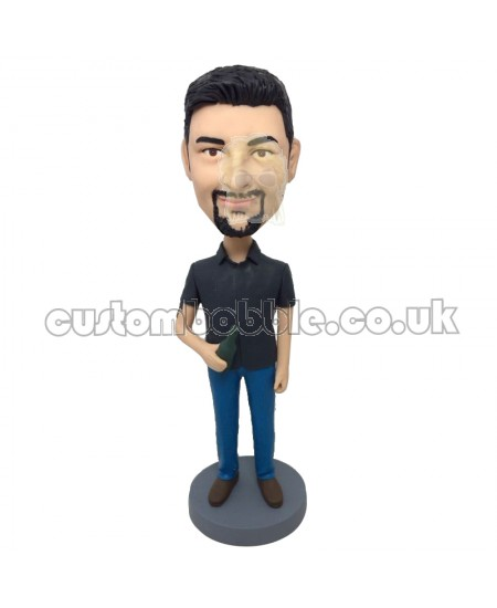 custom bobblehead casual man with a beer bottle