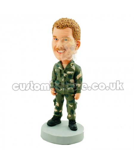 custom bobblehead wearing camouflage clothing