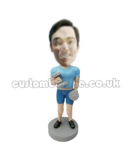 custom bobble head fitness man carrying dumbbells