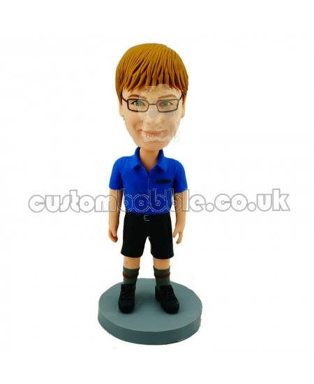 custom casual girl bobblehead in blue blous and black shorts