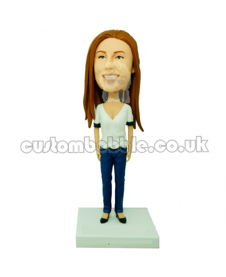 custom female bobblehead with low cut shirt