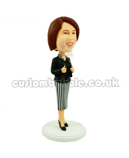 custom female office lady in stripe skirt and black suit
