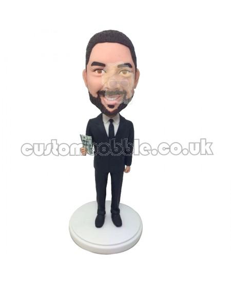 custom smart man bobblehed in formal suit waving money