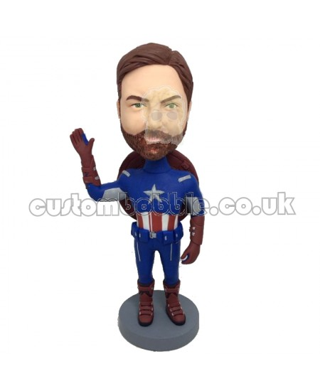 customised captain american boblehead saying hello