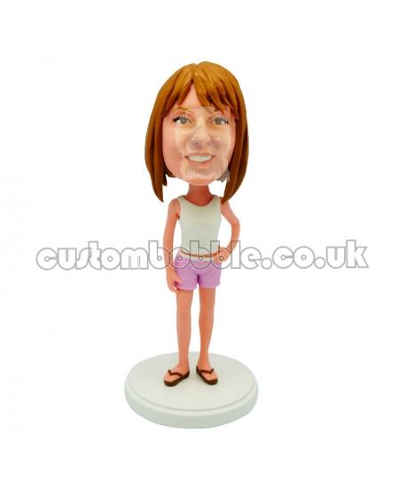 customised casual female bobblehead