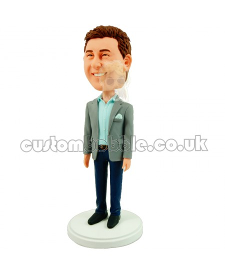 personalised boss bobblehead in a casual suit