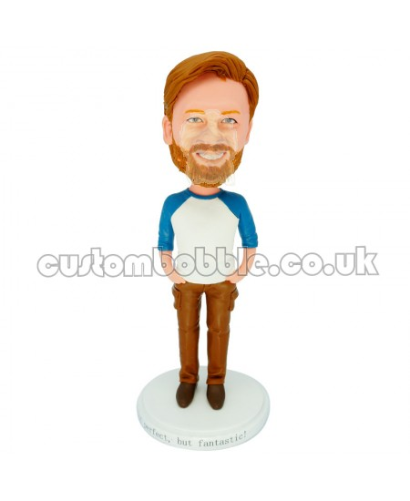 personalised casual man bobble head doll