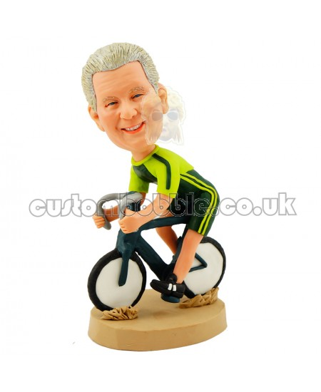 personalised cycling bobblehead wearing a racing suit