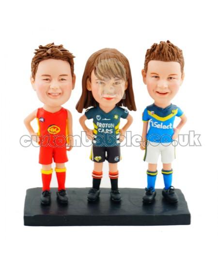 personalised three athletes bobblehead