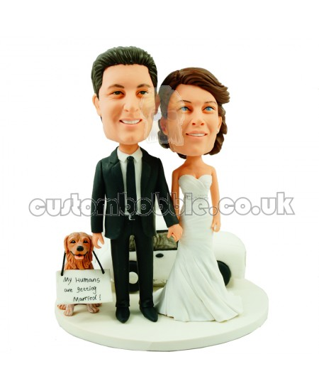 personalised wedding bobblehead with a dog and a car
