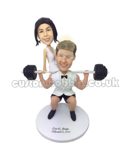 costom funny weight lifting couple bobbleheads