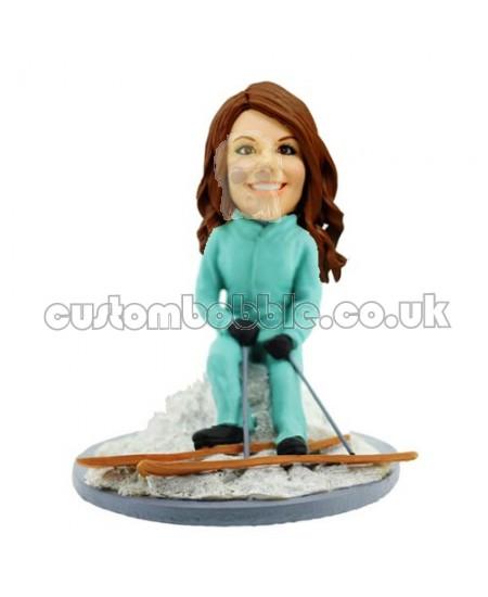 customized skiing lady bobblehead