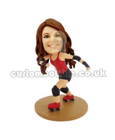 roller skates girl custom bobblehead