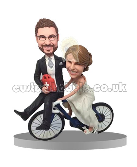 custom funny cycling couple bobbleheads