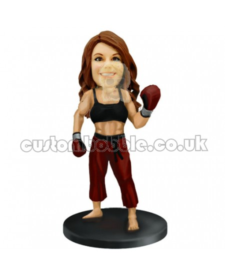 woman kickboxer custom bobblehead