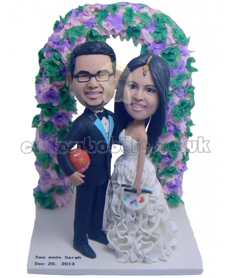 soccer fans couple bobbleheads personalised