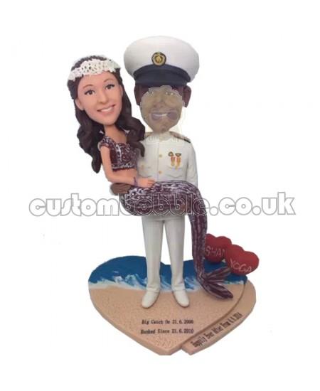 mermaid and navy officer custom couple bobblehead
