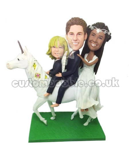 customized family ride on a horse bobblehead