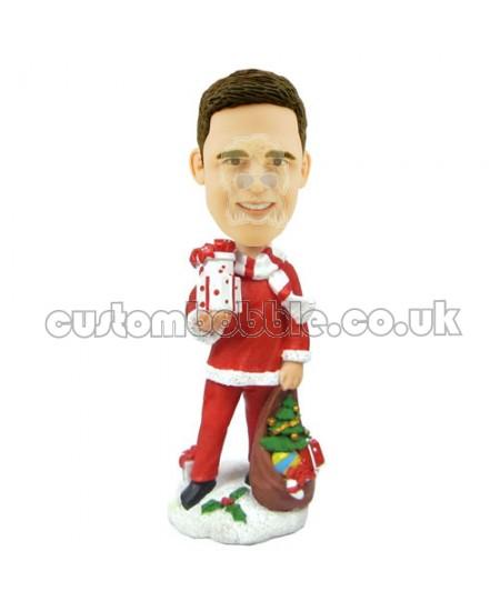 custom christmas bobble head male with present