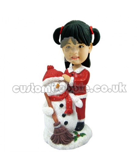 customised christmas bobble head child with snowman