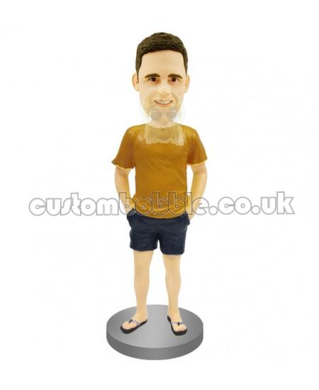 custom bobblehead in t-shirt shorts and flip flop