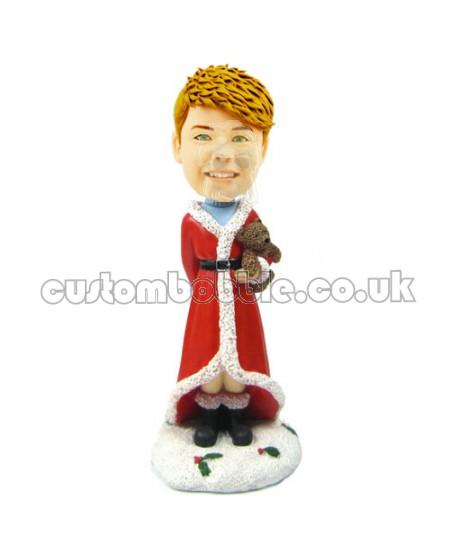 customised christmas bobble head child with teddy bear
