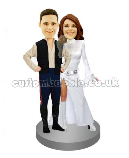 hans solo and princess leia star wars couples custom bobblehead