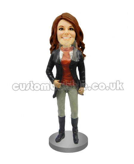 girl in jacket and riding boots custom bobblehead