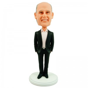 customized boss bobble head doll in black suit