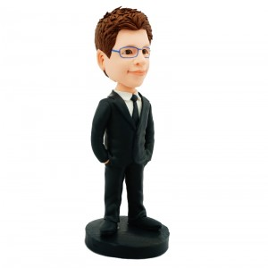 personalised bobblehead smart boy in straight suit