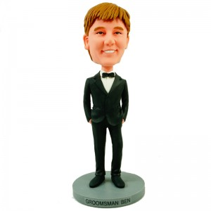 personalised groomsman bobblehead in black suit with bow tie