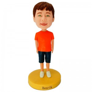 personalised kid in red t shirt bobblehead