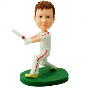 personalised kids cricket bobblehead waving a bat