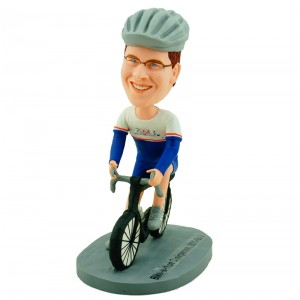 personalised professional cyclist in racing suit bobblehead